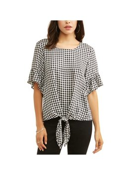 Women's Short Sleeve Tie Front Top by Como Blu