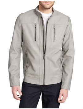 Faux Leather Zip Jacket by Calvin Klein