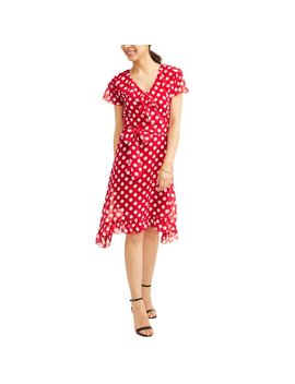 Jaquline Design Studio Women's Ruffle Wrap Polka Dot Dress by Jaquline Design Studio