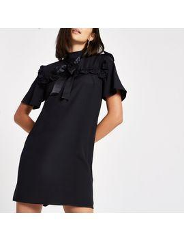 Black Bowtie Short Sleeve Swing Dress by River Island