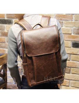 Men's Vintage Travel Pu Leather Backpack Shoulder School Laptop Bag Rucksack New by Unbranded