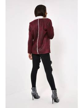 Wine Shearling Jacket by I Saw It First