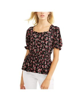 Women's Short Sleeve Square Neck Peplum T Shirt by Alison Andrews