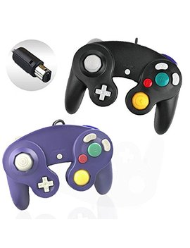 Reiso 2 Packs Ngc Controllers Classic Wired Controller For Wii Gamecube(Black And Blueviolet) by Reiso