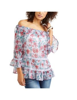 Women's On And Off The Shoulder Floral Top by Tru Self
