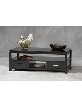 Sutton Coffee Table Shelves Storage   Tables Sofa Console End Set Living Room Office Wood Black   Sale! by Linon