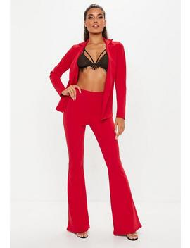 Red Stretch Crepe Flare Pants by Missguided