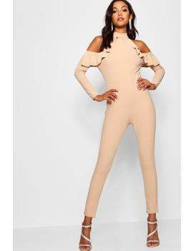 High Neck Ruffle Cold Shoulder Jumpsuit by Boohoo