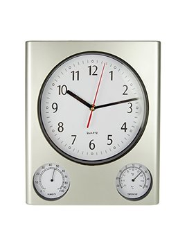 Poolmaster 52602 Clock/Thermometer/ Hygrometer   Silver by Poolmaster