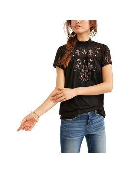 Embroidered High Neck T Shirt by Time And Tru