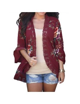 Just Vh Women's 3/4 Bell Sleeve Boho Floral Kimono Cardigan Cover Up Lace Stitching Blouse Top by Dymade