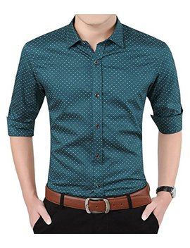 Aiyino Men's 100 Percents Cotton Long Sleeve Plaid Slim Fit Button Down Dress Shirt by Aiyino