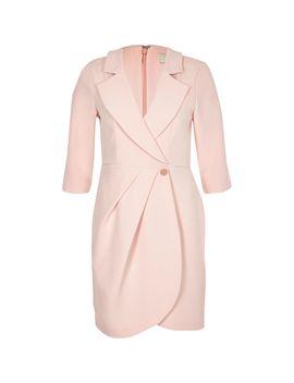 Light Pink Bodycon Wrap Tux Mini Dress by River Island