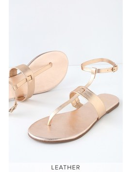 Colleen Rose Gold Leather Flat Sandals by Lulu's
