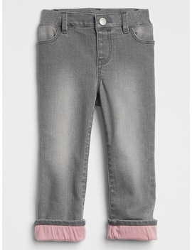 Lined Straight Jeans With Stretch by Gap