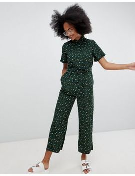 Monki Wide Leg Belted Jumpsuit by Monki