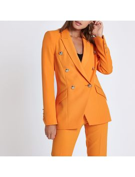Orange Double Breasted Tux Jacket by River Island