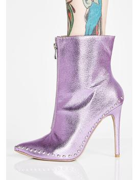 Amethyst Into The Abyss Studded Booties by Legend Footwear