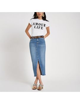 White 'Amour Life' Flock Print T Shirt by River Island