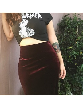 French Connection Long Velvet Skirt Preowned/Used by French Connection