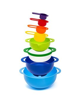 Hullr 8 Piece Measuring Mixing Bowl Set, Colorful Stackable Bowls For Baking Cooking & More by HÜllr