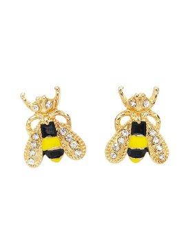 Bee Design Rhinestone Stud Earrings by Romwe