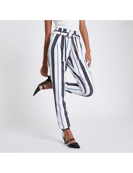 White Stripe Tie Waist Tapered Trousers by River Island