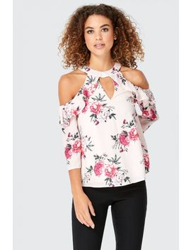Romantic Floral Frill Halter Neck Blouse by Select