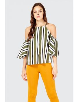 Stripe Square Neck Cold Shoulder Blouse by Select