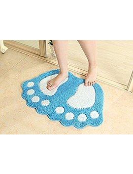 Para City Non Slip Bath Mat Big Feet Bathroom Shower Rugs Shaggy Carpet Absorbent Doormat Floor Mat (48*67 Cm, Blue) by Paramount City