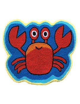 Ustide Cute Crab Rug Blue Handmade Bath Mat Animal Rugs For Kids Washable Non Skid Floor Rug Toilet/Foyer Mats Small by Ustide