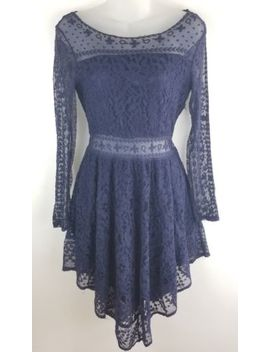 Womens Hm Divided Lace Dress Size 6 Navy Blue Sheer Mid Section Overlay by H&M