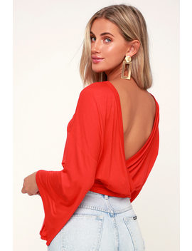 Turn Of Events Red Reversible Long Sleeve Crop Top by Lulu's