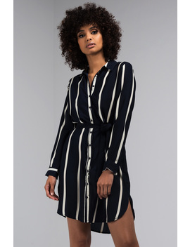 Strictly Professional Striped Button Down Dress by Akira