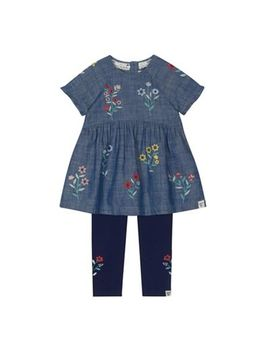 Mantaray   Girls' Blue Floral Embroidered Denim Tunic And Leggings Set by Mantaray