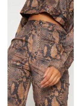 Brown Snake Print Straight Leg Trouser by Prettylittlething