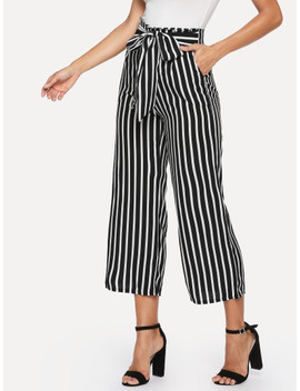 Knot Front Striped Wide Leg Pants by Shein