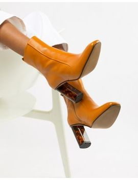Kurt Geiger Mustard Leather Heeled Ankle Boots by Kurt Geiger London