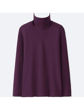 Women Compact Cotton Turtleneck Long Sleeve T Shirt by Uniqlo