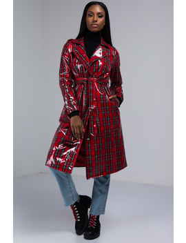 At The End Of The Day Plaid Trench Jacket by Akira