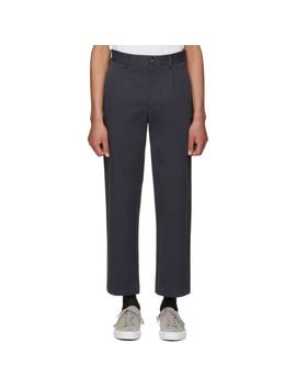 Navy Single Pleat Trousers by Noah Nyc
