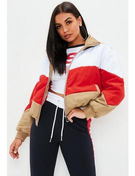 Tan Colour Block Bomber Jacket by Missguided