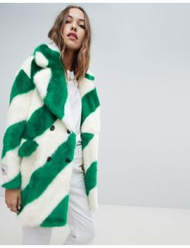 Jakke Double Breasted Mid Length Faux Fur Coat In Diagonal Stripe by Jakke