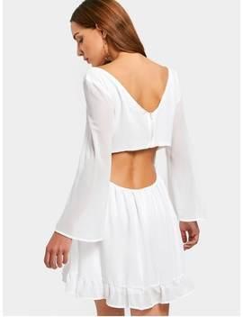 Criss Cross Cut Out Chiffon Dress   White Xl by Zaful