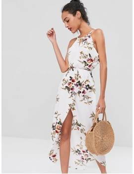 Cut Out Floral Overlap Dress   White M by Zaful