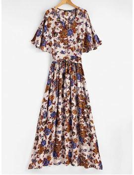 Split Sleeve Floral Print Maxi Tea Dress   Multi L by Zaful