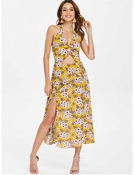 Backless Floral Knot Slit Swing Dress   Golden Brown S by Zaful