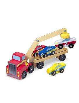 Melissa & Doug Magnetic Car Loader Wooden Toy Set With 4 Cars And 1 Semi Trailer Truck by Melissa & Doug
