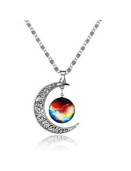 Luvalti Galaxy & Crescent Cosmic Moon Pendant Necklace   Colorful Glass   17.5'' Chain   Great Gift For Women by Luvalti