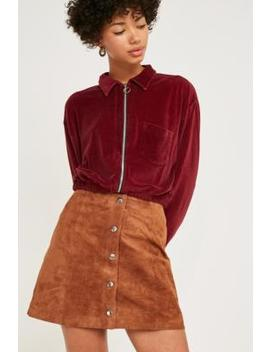 Uo Jonie Tan Suede Button Through Skirt by Urban Outfitters